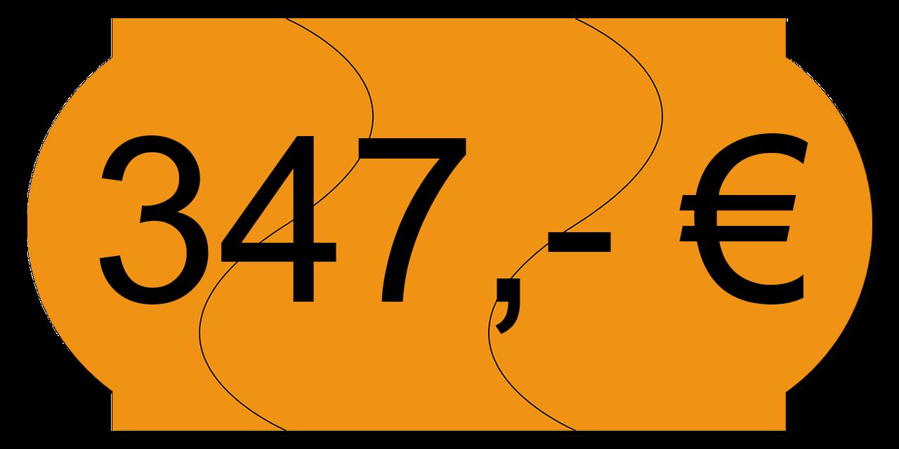 Preisschild 347,00