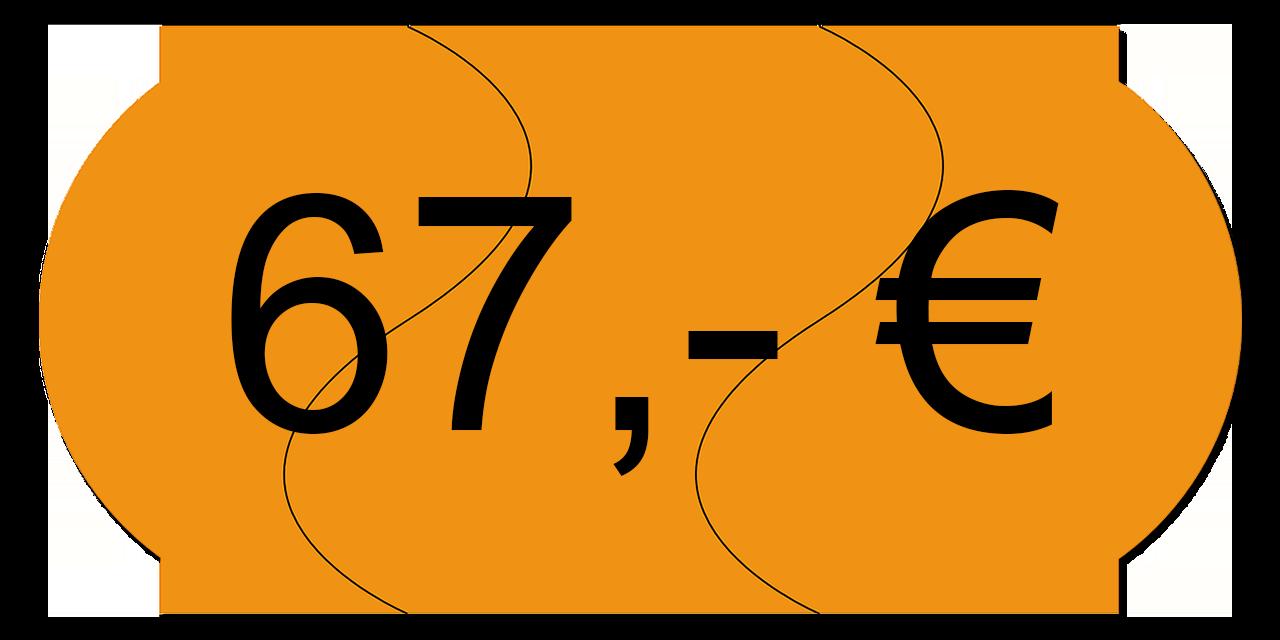 Preisschild 67,00